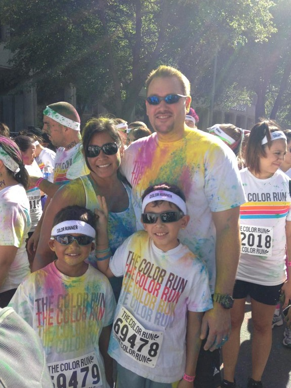 Heather, Forrest, Aiden and Noah at a Color Run race in Sacramento