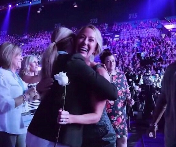 Gina and her sponsor Lea May after walking the stage in Vegas