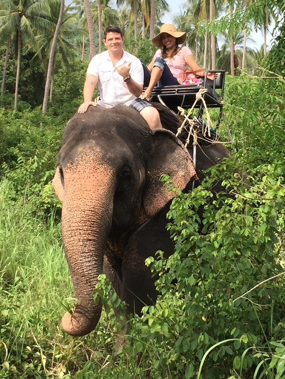 "Cynthia and Aaron on the RFX Circle Thailand trip, their first time riding an elephant! ""Thank you Dr. Rodan + Fields!"""