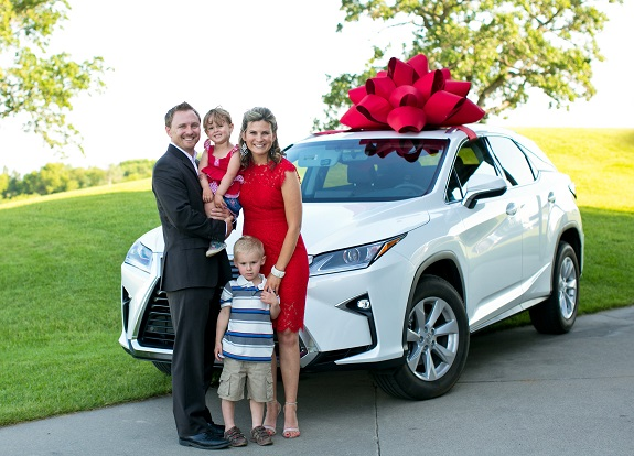 Katie and her family at her Lexus celebration event in Minnesota