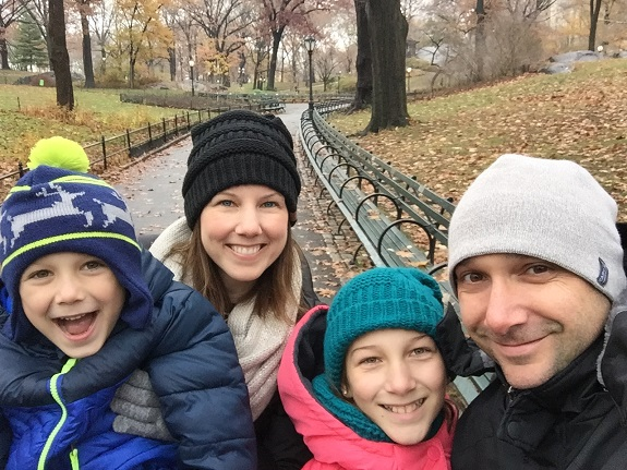 Heather and her family making memories in New York's Central Park last December.