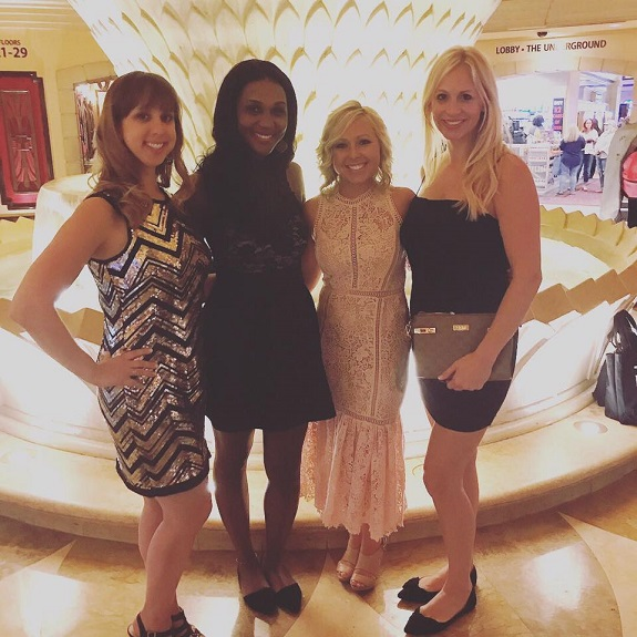 Emily with teammates, Alex Mathews, Joshelyn Otter, and Annie Allen, at Rodan + Fields Convention 2017
